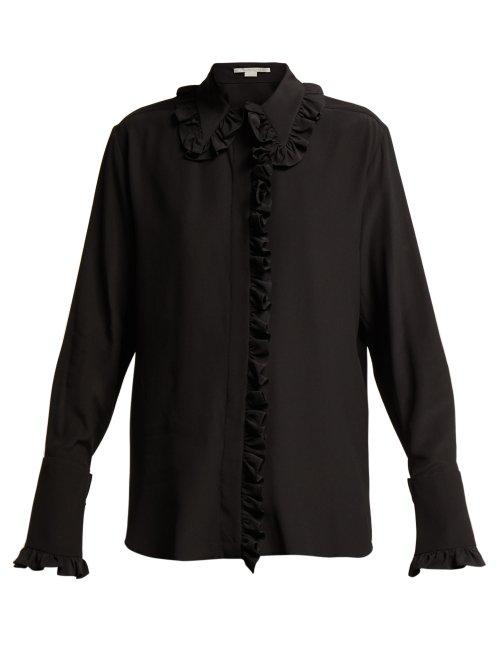 6b7154a38ac812 Stella Mccartney Ruffled Silk Crepe De Chine Blouse In Black