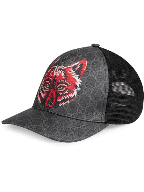 f2a907a8b Gucci Men's Wolf Head Gg-Supreme Baseball Cap In 1060 Gg Black ...