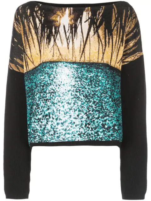 N°21 Graphic Off-The-Shoulder Knit Sweater In Black