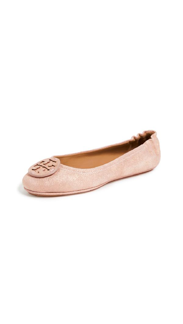448599afb2a3 Tory Burch Minnie Travel Logo Ballet Flats In Metallic Sea Shell Pink