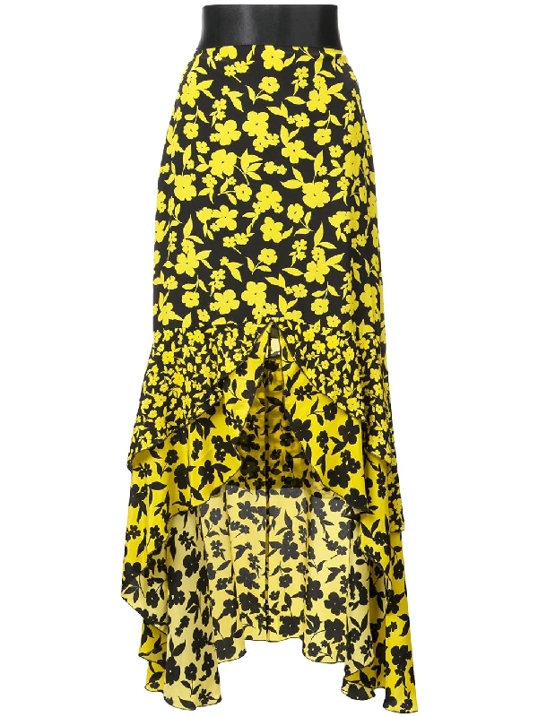 1ed8d766c1be90 ALICE AND OLIVIA. Sueann Asymmetric Tiered Floral-Print Satin-Trimmed Silk  Crepe De Chine Skirt in Black