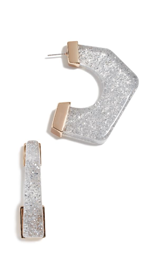 Rebecca Minkoff Glitter Resin Hoop Earrings In Silver