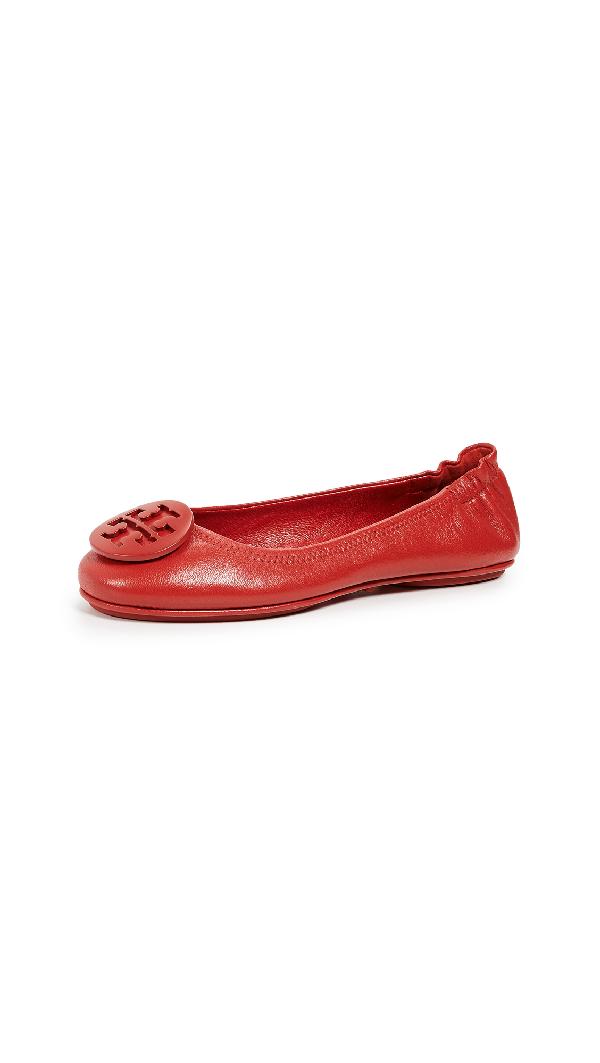 82e1de85a Tory Burch Minnie Travel Ballet Flats In Brilliant Red   ModeSens
