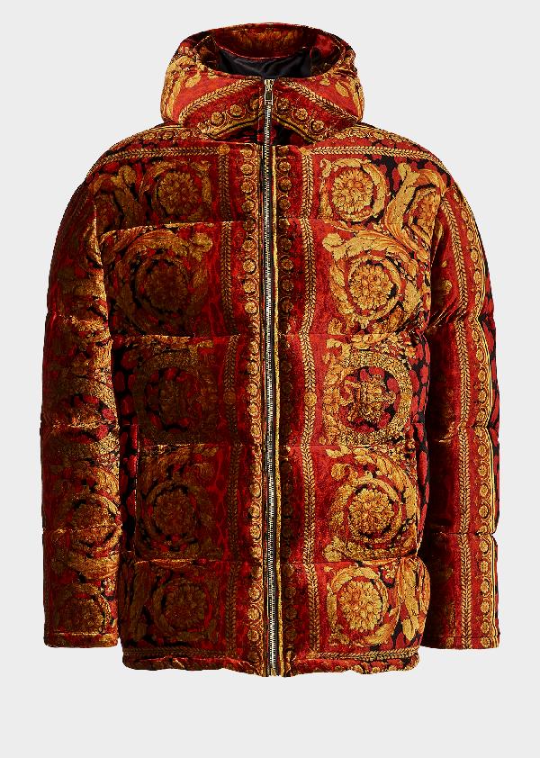 3a2ba9514cd Versace Velvet Barocco Print Puffer Jacket   ModeSens