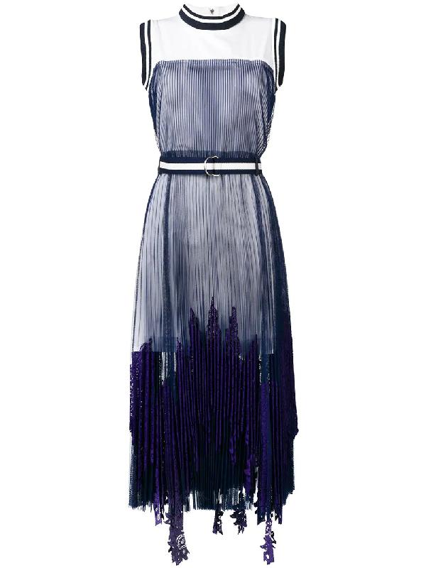 c1e47601bf Sacai Striped-Border Sleeveless Pleated Tulle Overlay Long Dress In Blue
