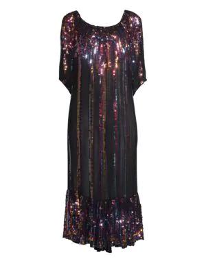 Carolina K Charro Sequin Midi Dress In Luxe Stripe Black