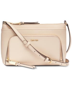 Calvin Klein Lily Saffiano Leather Crossbody In Light Sand/Gold