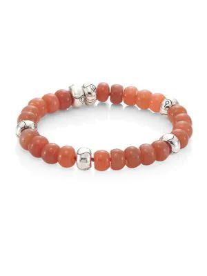 John Hardy Bamboo Peach Moonstone & Sterling Silver Bead Bracelet In Orange