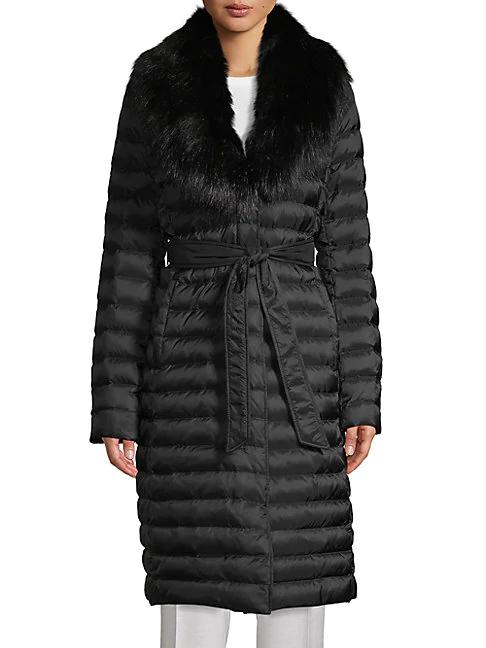 T Tahari Faux Fur-trim Down Puffer Coat In Black