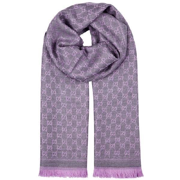 8294c77cf Gucci Gg Jacquard Wool Scarf In Lilac   ModeSens