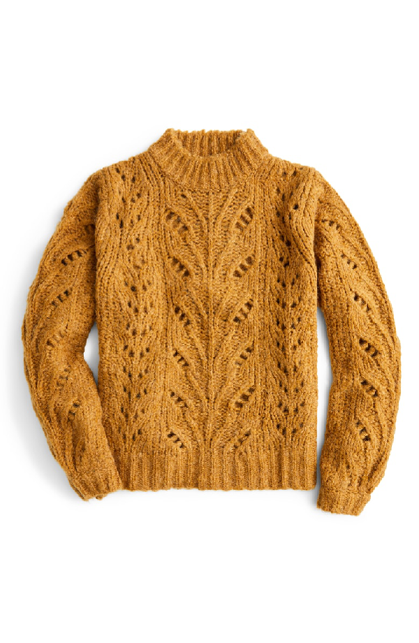 J.Crew Point Sur Pointelle Sweater In Melted Carmel