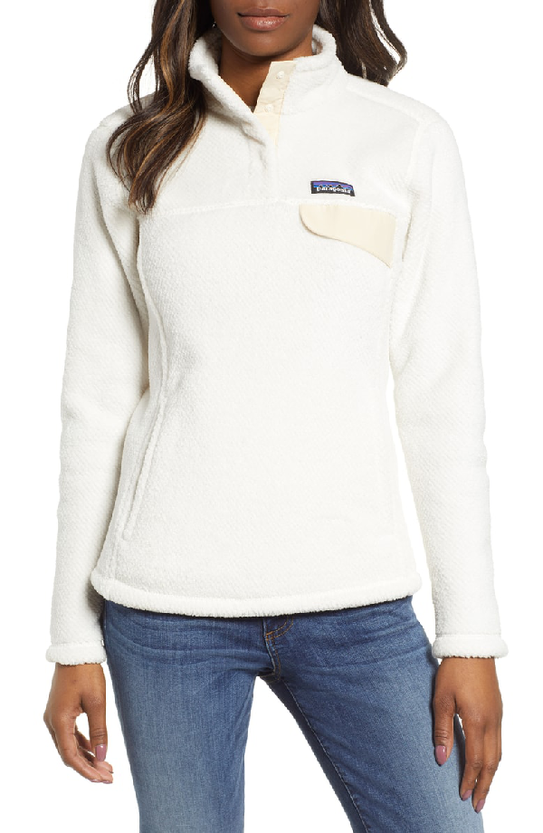 Patagonia Re-Tool Snap-T Fleece Pullover In Raw Linen - White X-Dye