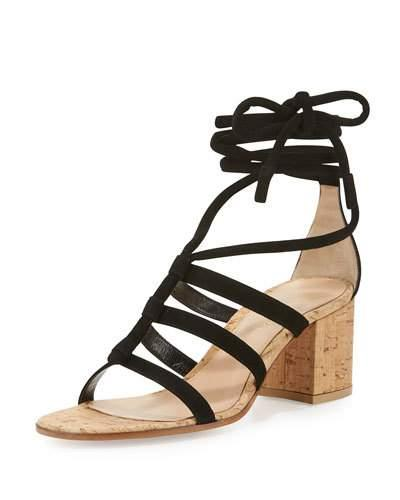 3ebe227f1e Gianvito Rossi Cayman Lace-Up Suede 60Mm Sandal, Black | ModeSens
