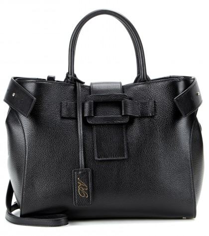 Roger Vivier Pilgrim De Jour Medium Leather Shopping Tote Bag In Black