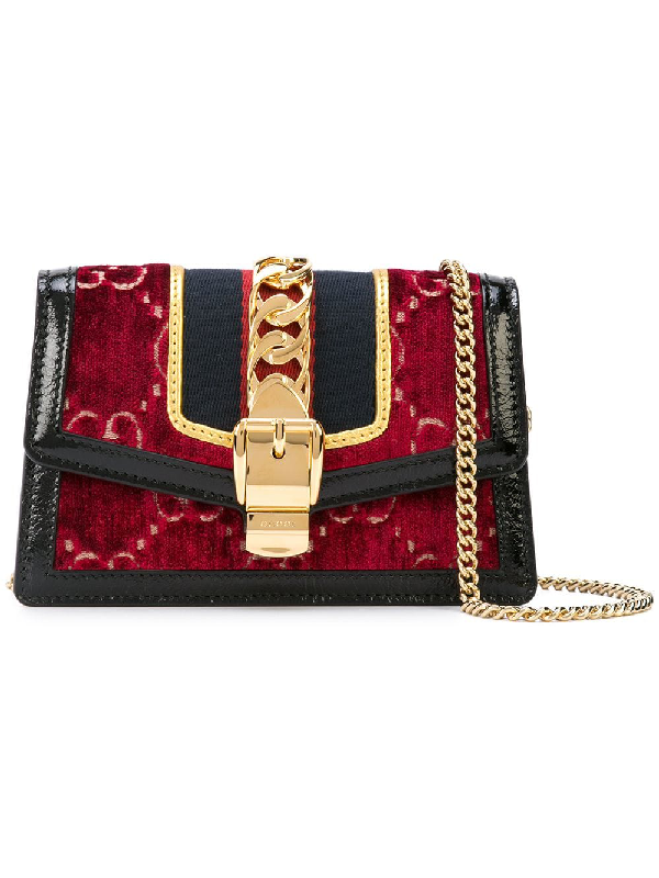 6ddec29411224c Gucci Sylvie Gg Velvet Crossbody Bag In Red | ModeSens