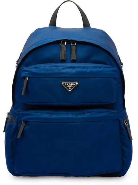 Prada Logo Plaque Backpack In Blue
