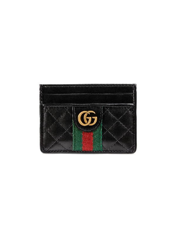 6af0275fd35329 Gucci Leather Card Case With Double G In Black   ModeSens