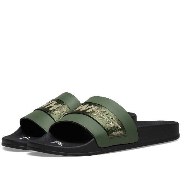 Off-White Industrial Logo-Embroidered Sliders In Green