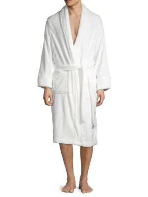 Saks Fifth Avenue Boxed Luxurious Plush Fleece Robe In White