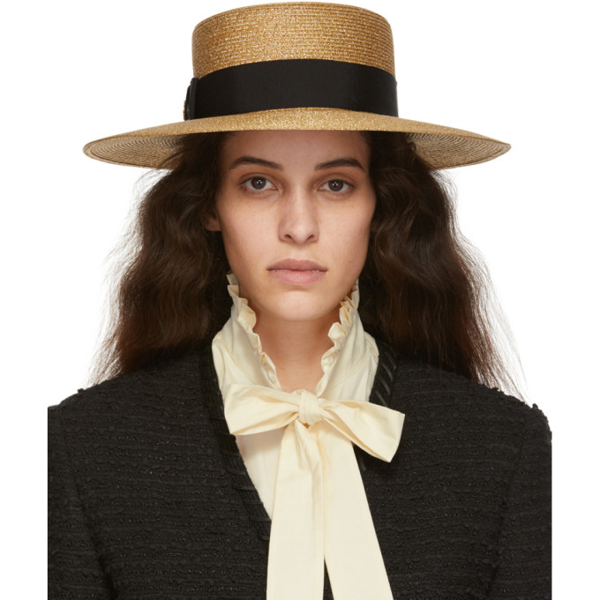 Gucci Grosgrain-trimmed Glittered Straw Hat In 8060 Gold