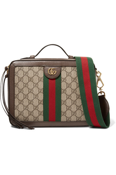 ed2fa8111c83 Gucci Ophidia Small Textured Leather-Trimmed Printed Coated-Canvas Camera  Bag In Brown