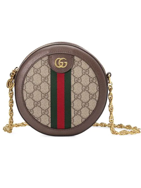 Gucci Ophidia Mini Textured Leather-Trimmed Printed Coated-Canvas Shoulder Bag In Neutrals