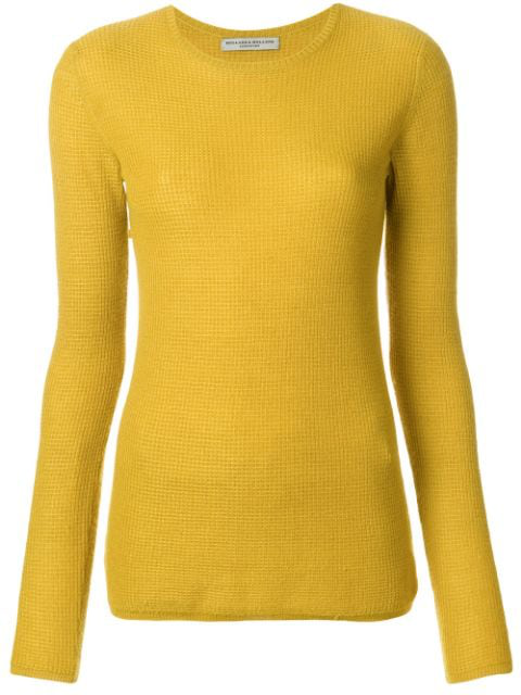 Holland & Holland Small Waffle Jumper In Yellow