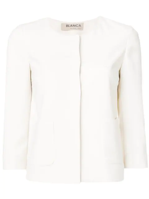 Blanca Fitted 3/4 Sleeves Jacket In Neutrals