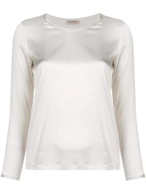 Blanca Round Neck Blouse In White