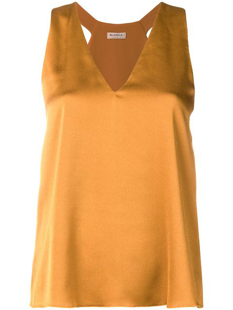 Blanca Sleeveless V-neck Blouse In Yellow