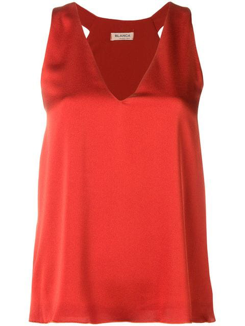Blanca Sleeveless Blouse In Orange