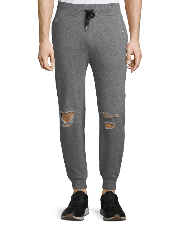 b2de167a2d7615 Threads For Thought Men's Lux French Terry Distressed Jogger Pants In Gray