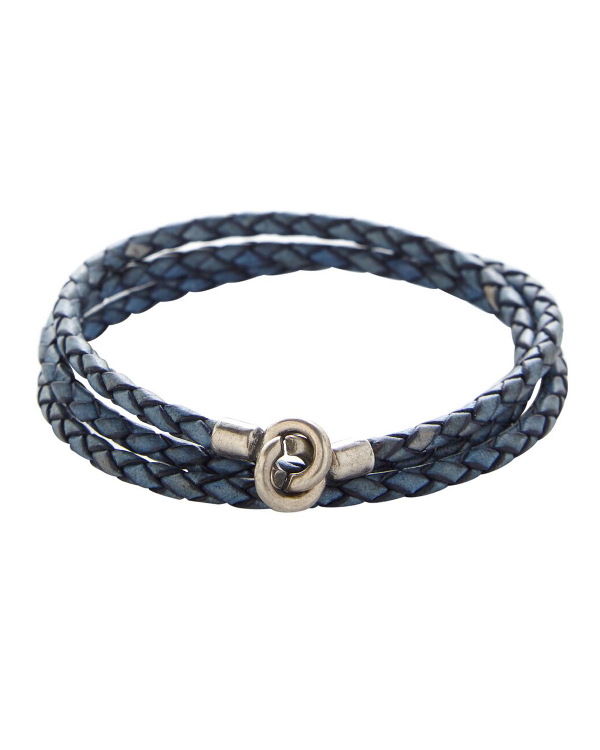 Degs & Sal Men's Braided Leather Bracelet With Silver Clasp, Blue