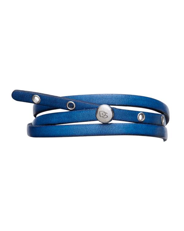 Degs & Sal Men's Adjustable Leather Wrap Bracelet, Blue
