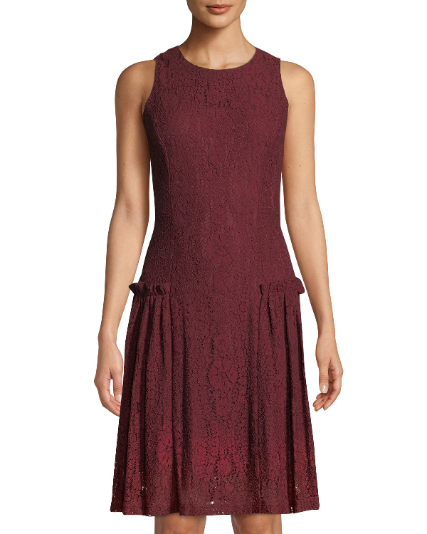 Sleeveless Frilled Waist Lace Dress In Wine