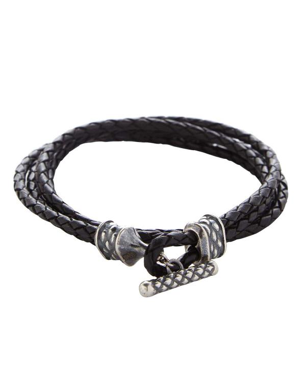 Degs & Sal Men's Stealth Stainless Steel & Braided Leather Bracelet In Black