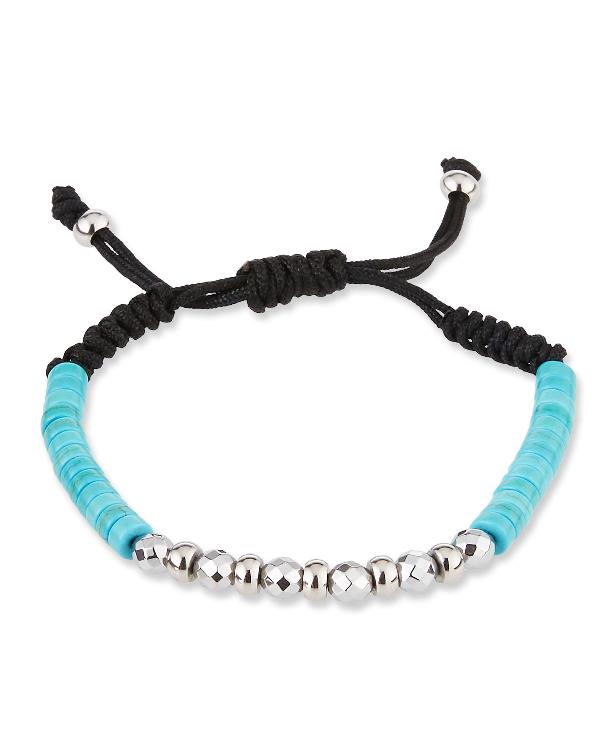 Degs & Sal Men's Agate/Stainless Steel Beaded Bracelet, Blue