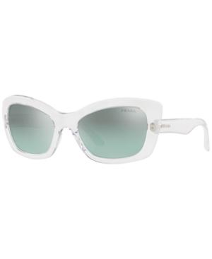 Prada Sunglasses, Pr 19Ms In Transparent / Light Azure Silver Gradient