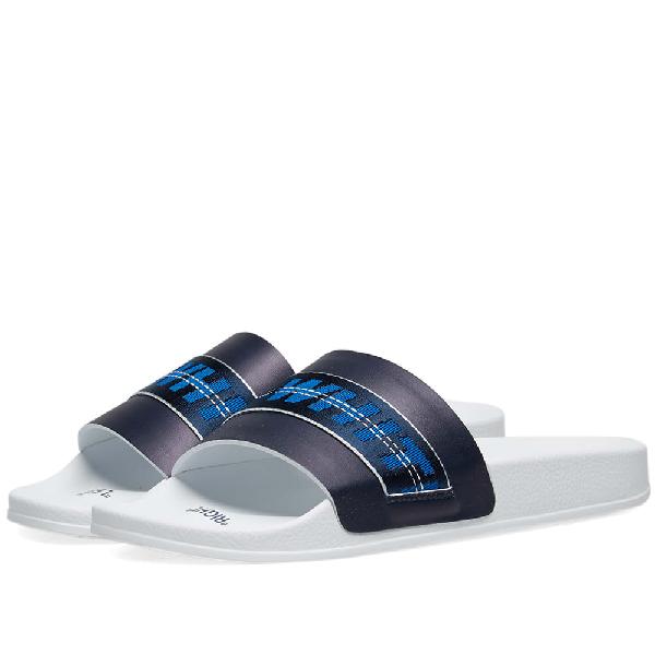 Off-White Men's Industrial Leather Slide Sandals, Blue