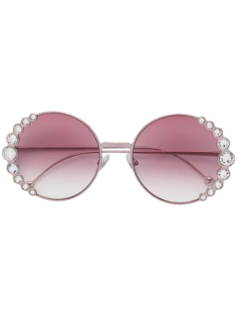 868104e65ec39 Fendi 58Mm Oversized Round Swarovski Crystal Sunglasses In Pink ...