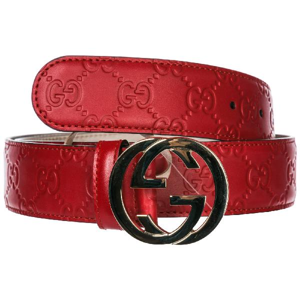 83e3cedf69a Gucci Gg Supreme Buckle Belt In Red