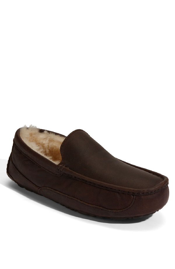 be17a540bee Ugg® Men s Ascot Water-Resistant Leather Slippers In Buck