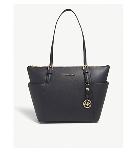 Michael Michael Kors Jet Set Textured Leather Tote In Admiral