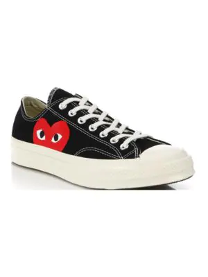 217516915127e4 Comme Des GarÇOns Play Peek-A-Boo Canvas Low-Top Sneakers In Black ...