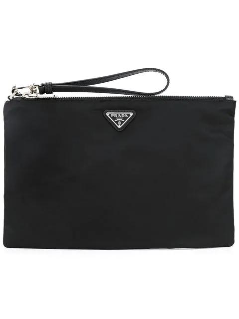 c59bb57342c8 Prada - Logo Plaque Medium Nylon Pouch - Mens - Black In F0002 Nero ...