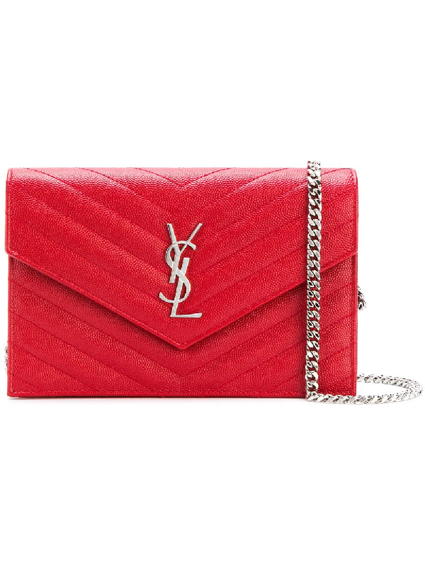 6edc22c2499 Saint Laurent Monogram Envelope Chain Wallet - Farfetch In 6805 Red ...