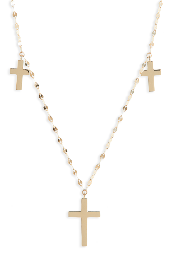 Lana Bond Triple Cross Charm Necklace In Yellow Gold