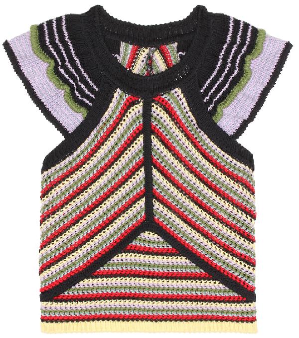 Alexa Chung Striped Cotton Top In Multicoloured