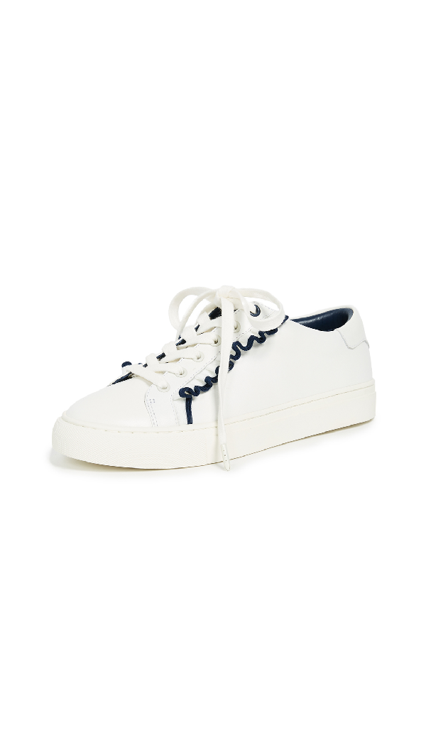 9847167df Tory Sport Ruffle Leather Low-Top Sneakers In Snow White Navy Sea