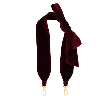 Miu Miu Velvet Shoulder Strap With Bow In Red Currant